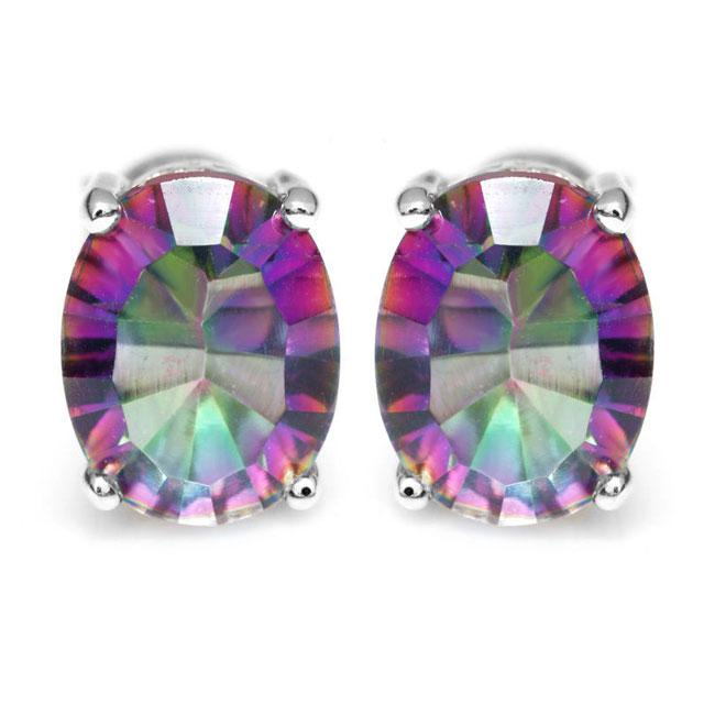 Cercei Borealy Argint 925 Mistic Topaz 3 carate Rainbow Oval-big