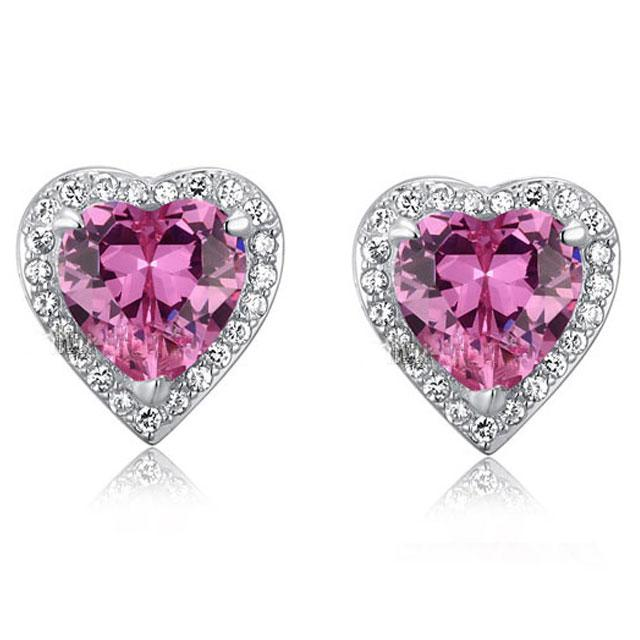 Cercei Borealy Argint 925 Sapphire Pink Passion for Love-big