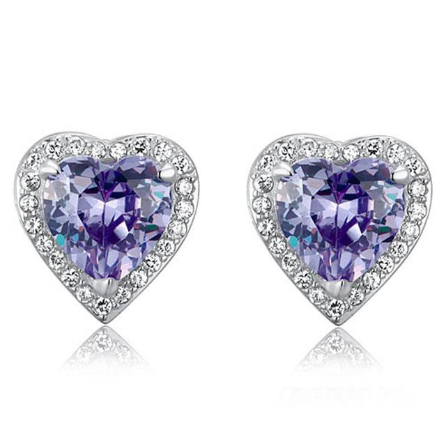 Cercei Borealy Argint 925 Sapphire Purple Passion for Love-big