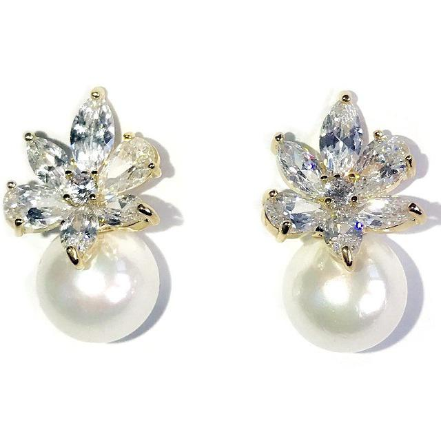Cercei Borealy Crystal Flower Ivory Pearl 0