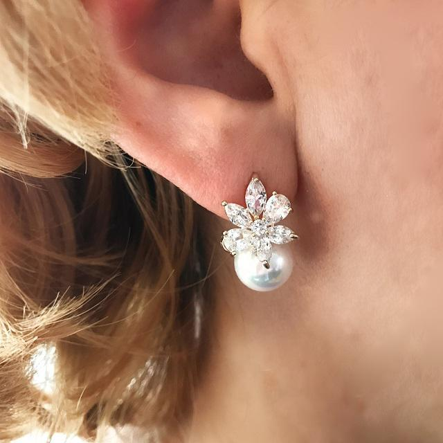 Cercei Borealy Crystal Flower Ivory Pearl 1