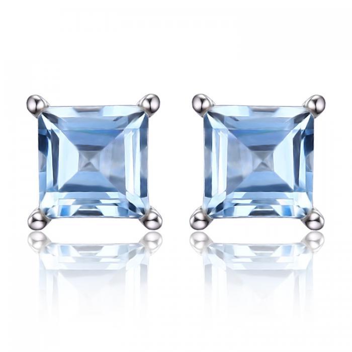 Cercei Borealy Argint 925 Topaz Natural 1 carat Princess Sky Blue 0