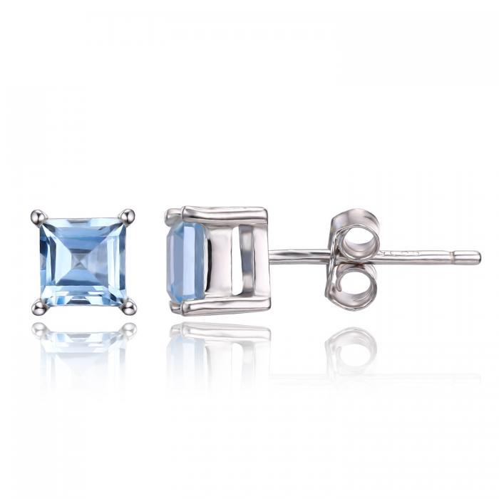 Cercei Borealy Argint 925 Topaz Natural 1 carat Princess Sky Blue 1
