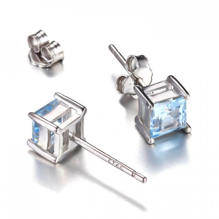 Cercei Borealy Argint 925 Topaz Natural 1 carat Princess Sky Blue 2