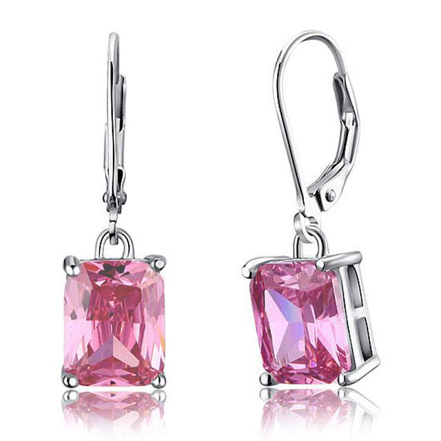 Cercei Borealy Argint 925 Simulated Sapphire Radiant Orchid Pink-big