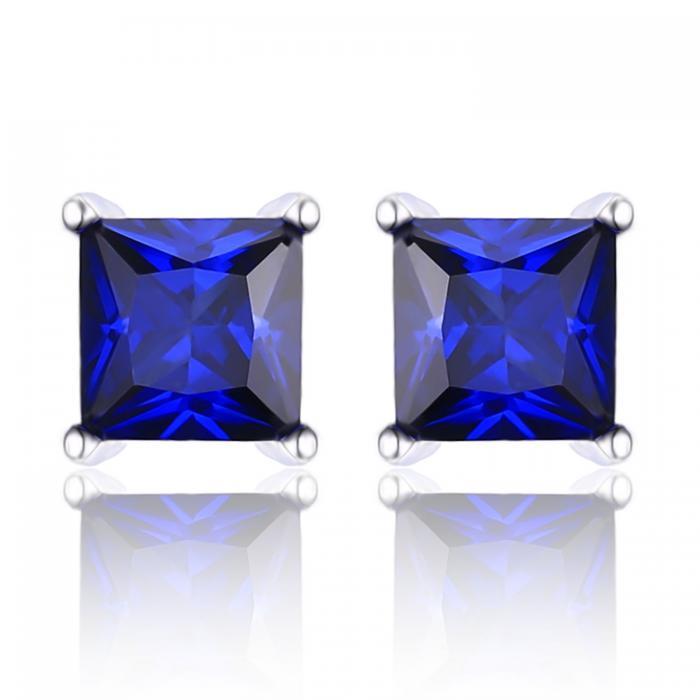 Cercei Borealy Safir 1 carat Argint 925 Princess 0