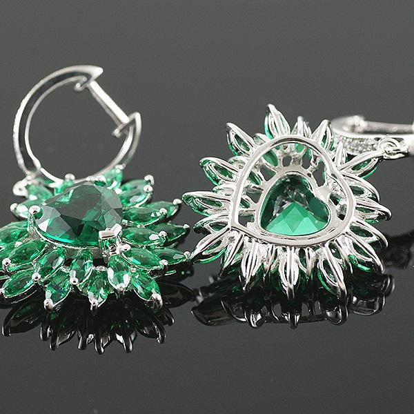 Smaralde Marquise Set Cercei, Colier şi Inel - Pietre Preţioase Argint 925-big