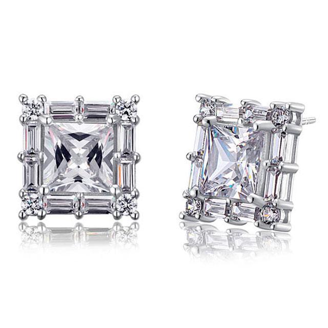 Cercei Borealy Argint 925 Diamonds Square Princess-big