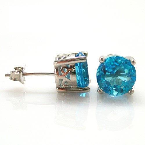 Cercei Pietre Preţioase Naturale Topaz Blue Studs 4 Carate 2