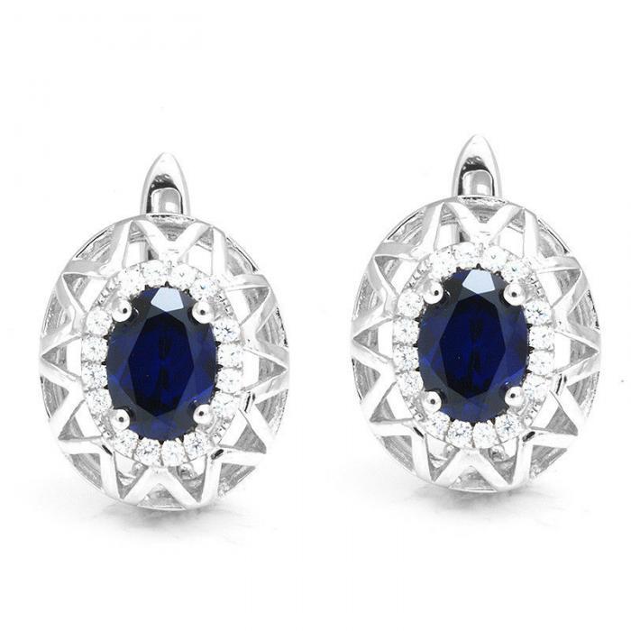 Cercei Borealy Argint 92 Safir True Blue-big