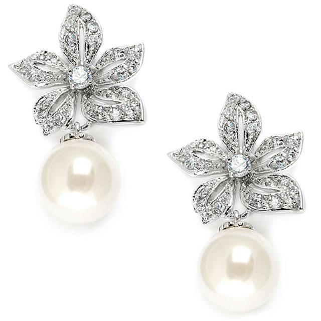 Cercei Borealy Argint 925 Pearl Drop Vintage Floral 0