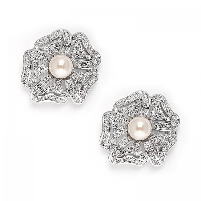 Cercei Borealy Argint 925 Pearl Flower Vintage 0