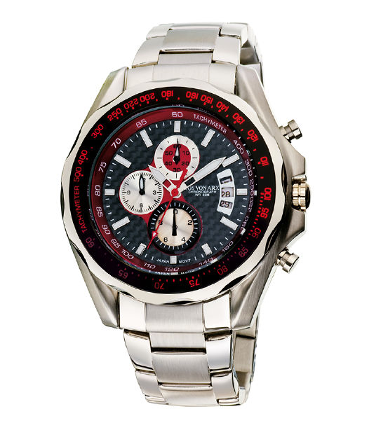 Chronograph Watch Black&Silver Jos von Arx-big