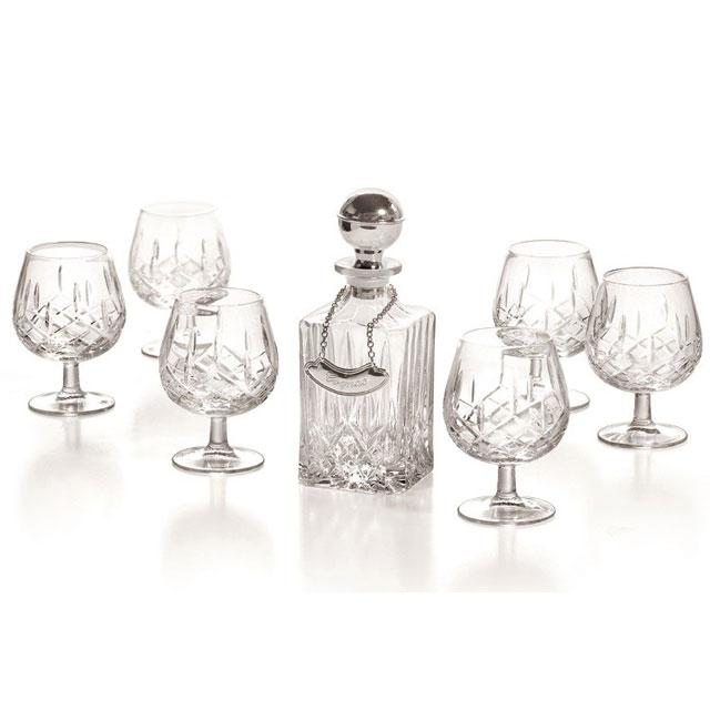 Cognac Set With Crystal Bottle Silver Plated by Chinelli-big