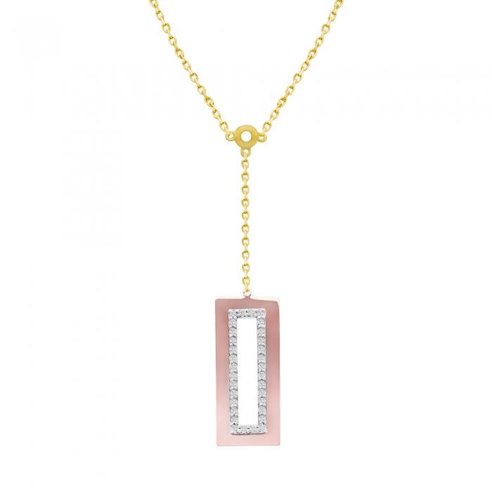 Colier aur galben combinat cu aur rose 18k cu diamante-big