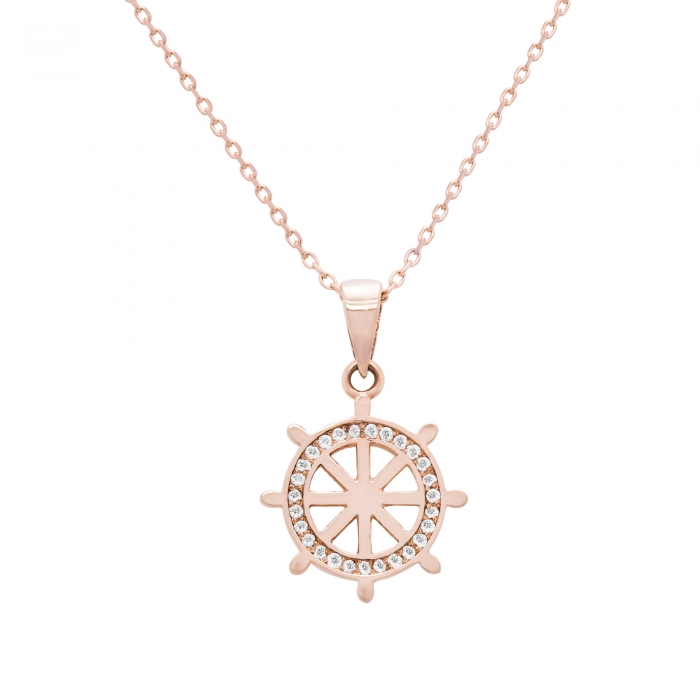 Colier aur rose 18k cu diamante-big