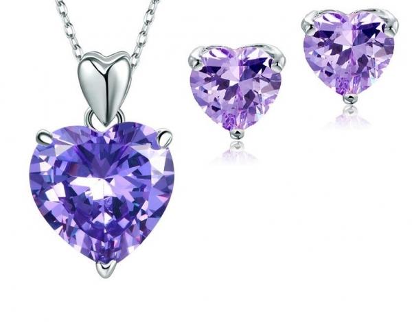 Set Borealy Argint Colier si Cercei Purple Amour-big