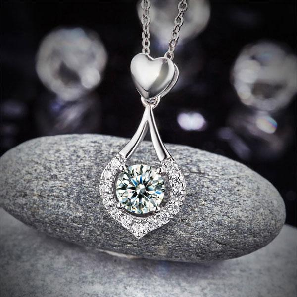 Colier Borealy Argint 925 Heart Drop Simulated Diamonds-big