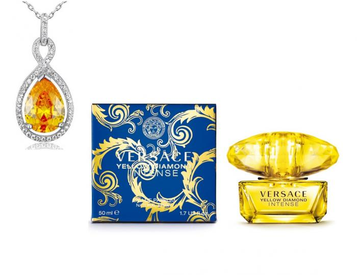 Versace Yellow Diamonds  & Colier Borealy Argint 925 Yellow Sapphire Fancy 1