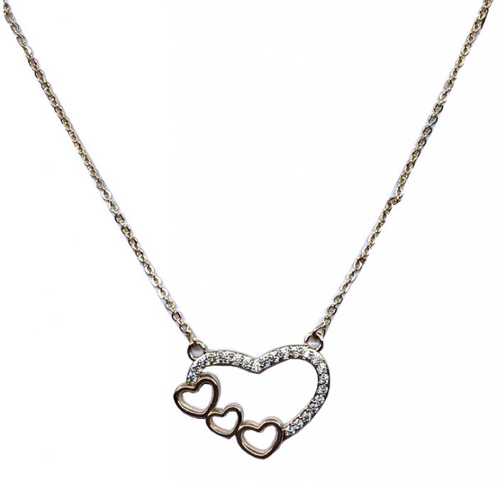 Colier Borealy Triple Heart, placat cu aur 0