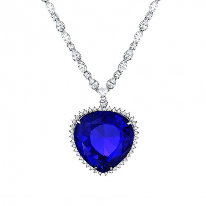 Colier Luxury Titanic Sapphire Heart of the Ocean 0