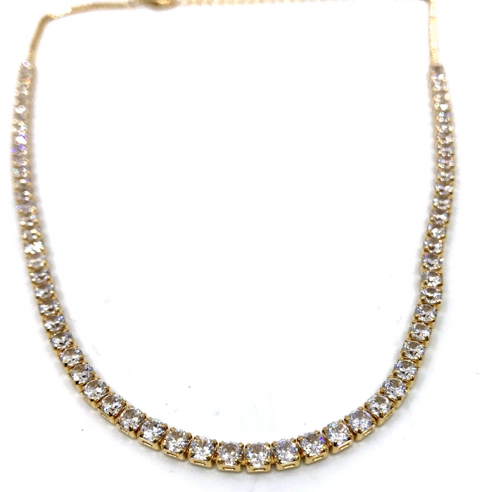 Colier Borealy Small Diamonds Tennis Classic Half Gold-big