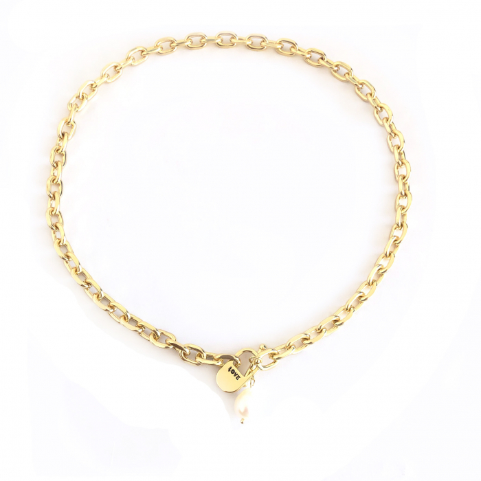 Set Colier si Bratara Chain Gold Natural Pearl 2