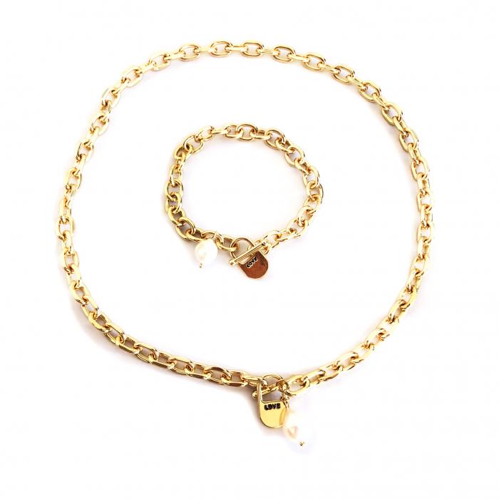 Set Colier si Bratara Chain Gold Natural Pearl 0