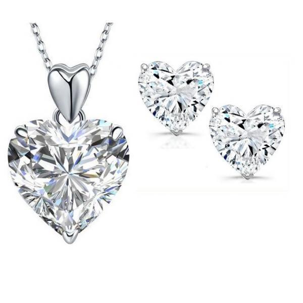 Set Cercei Heart si Colier Love Heart Borealy Argint 925 0