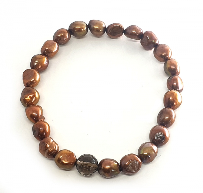 Set Colier si Bratara din Perle Naturale Bronze-big