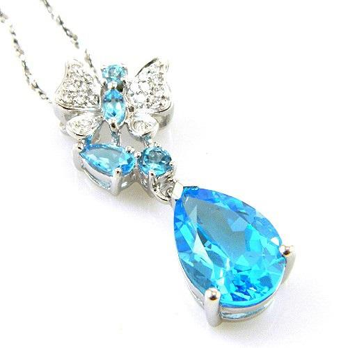 Colier Butterfly Topaz Natural Blue London 4,30 carate-big
