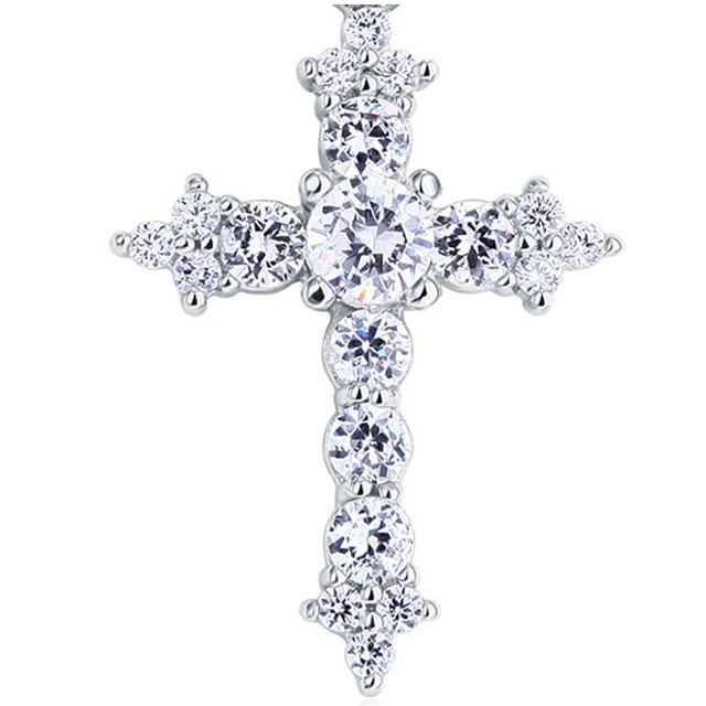 Colier Cross Diamonds Argint 925-big