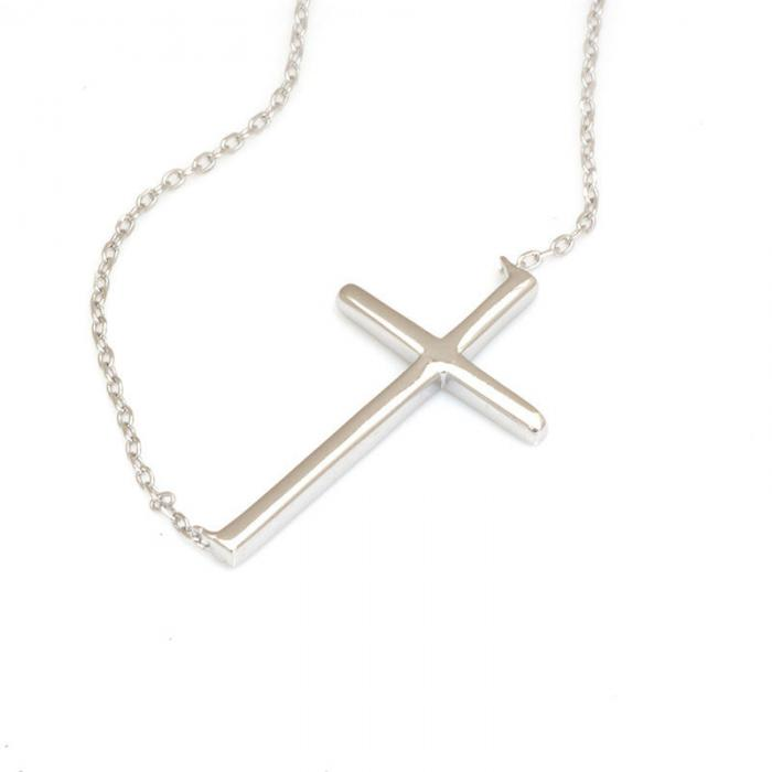 Colier Cross Solid Argint 925 0