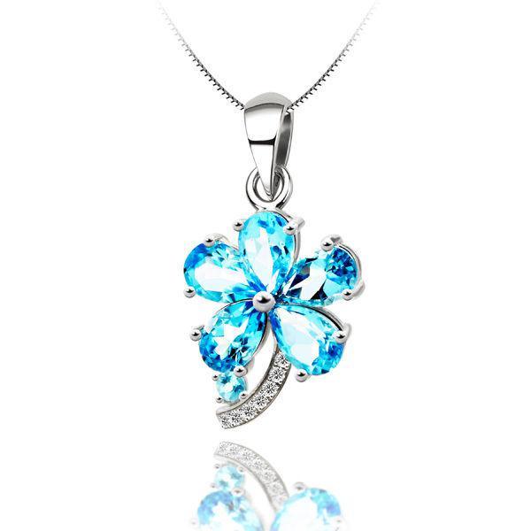Colier Flower Blue Topaz Borealy Argint 925 0