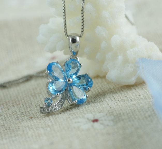 Colier Flower Blue Topaz Borealy Argint 925 1