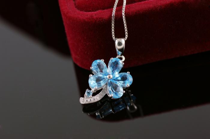 Colier Flower Blue Topaz Borealy Argint 925 2