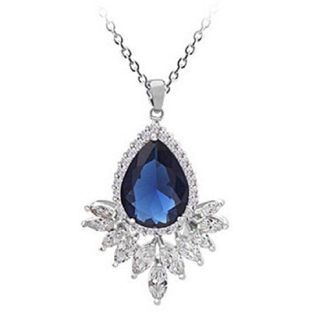 Colier Grammy Safir Pear Diamond Marquise 0