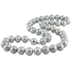 Silver Purple Pearls Necklace-big