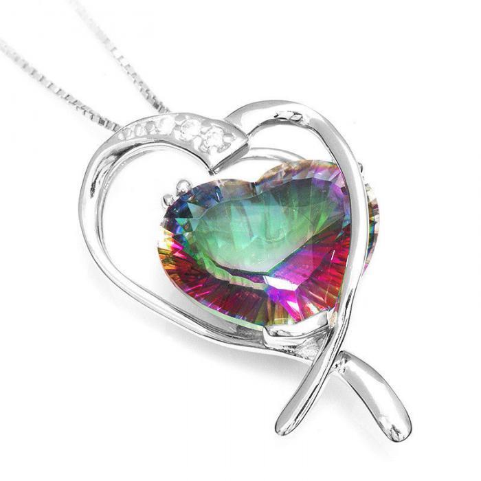 Colier Inima Misterioasa Mistic Topaz 8 carate Argint 925-big