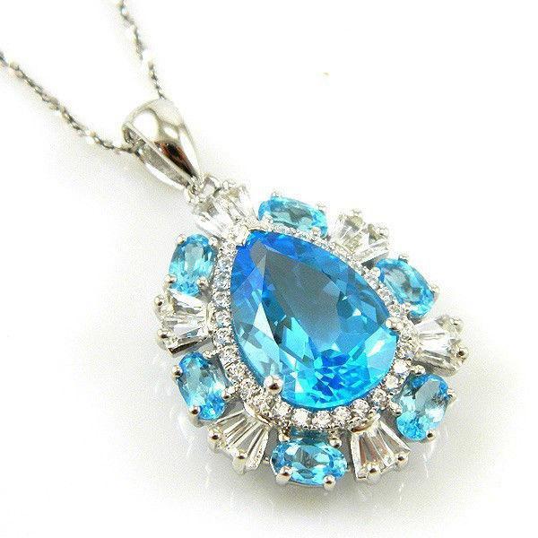 Colier Luxury Blue Topaz 9 carate - pietre pretioase naturale Argint 925-big