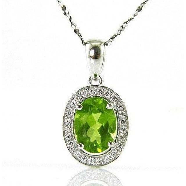 Colier Oval Luxury Peridot 1,70 carate Argint 925 Borealy 1