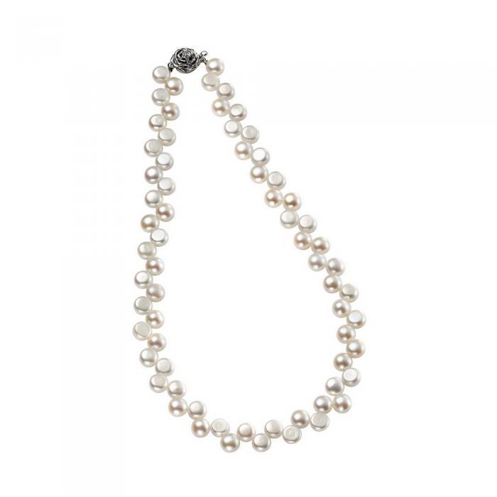 Colier Perle White Naturale de Cultură Button 1