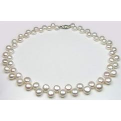 Colier Perle White Naturale de Cultură Button 2