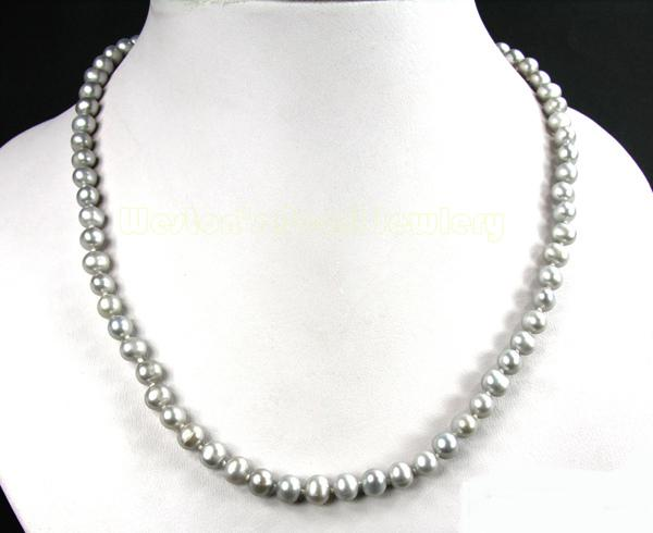 Silver Purple Pearls Necklace 1