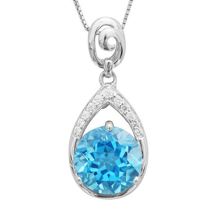 Colier Round Swiss Blue Topaz Natural 7 carate Argint 925-big