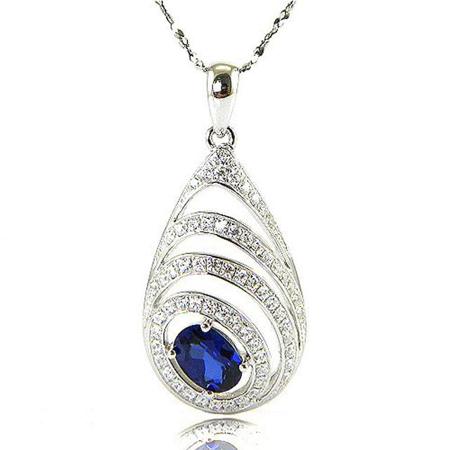 Colier Blue Eva Created Safir - Argint 925-big