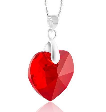 Red Heart Swarovski  & Lantisor Argint 925 2