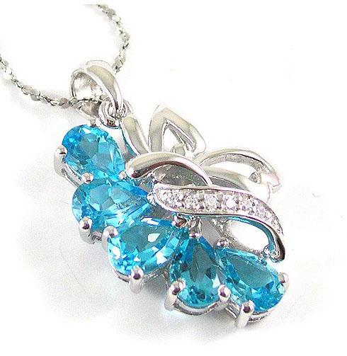 Colier Flowers Sky Blue Topaz Natural 2,50 carate pietre pretioase naturale 2