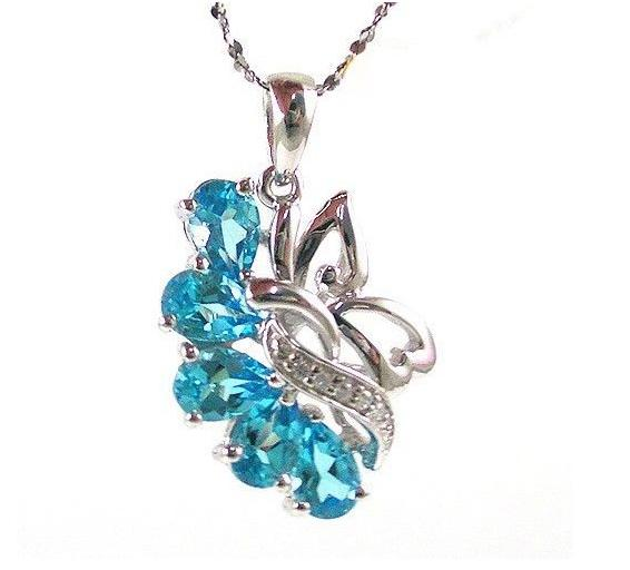 Colier Flowers Sky Blue Topaz Natural 2,50 carate pietre pretioase naturale 0