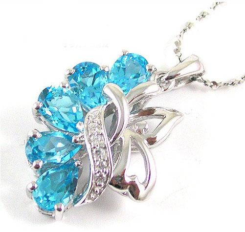 Colier Flowers Sky Blue Topaz Natural 2,50 carate pietre pretioase naturale 1
